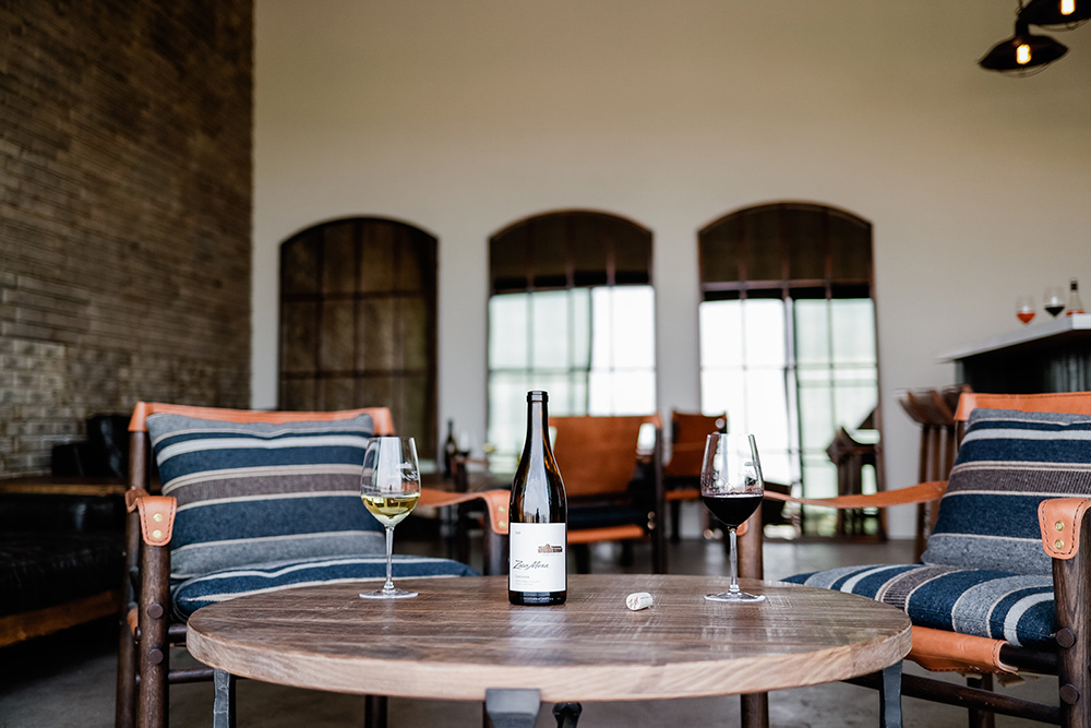 Zaca Mesa Club Room with wine bottle