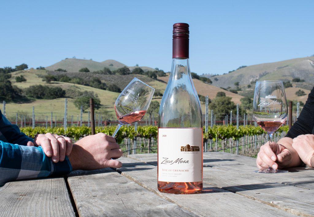 Rose bottle at the vineyard